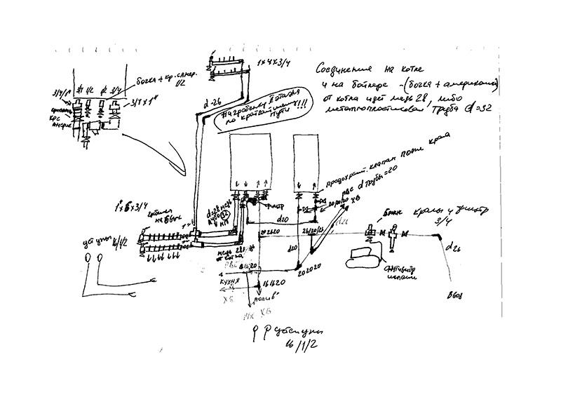 рабочий эскиз системы отопления